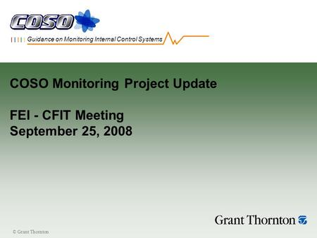 © Grant Thornton | | | | | Guidance on Monitoring Internal Control Systems COSO Monitoring Project Update FEI - CFIT Meeting September 25, 2008.
