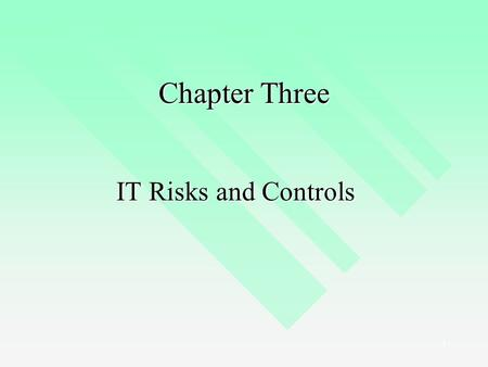 1 Chapter Three IT Risks and Controls. 2 Lecture Outline Identifying IT Risks Identifying IT Risks Assessing IT Risks Assessing IT Risks Identifying IT.