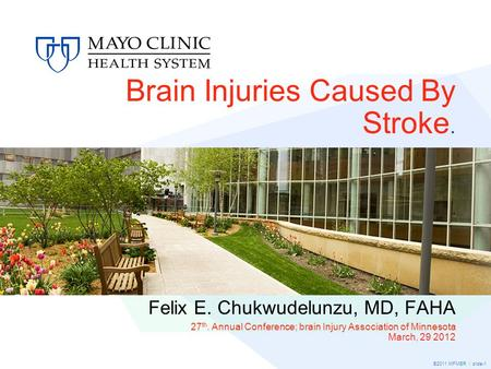 ©2011 MFMER | slide-1 Brain Injuries Caused By Stroke. Felix E. Chukwudelunzu, MD, FAHA 27 th. Annual Conference; brain Injury Association of Minnesota.