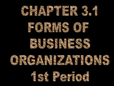 1.Describe the characteristics, advantages & disadvantages of the sole proprietorship. 2.Understand the advantages & disadvantages of the partnership.