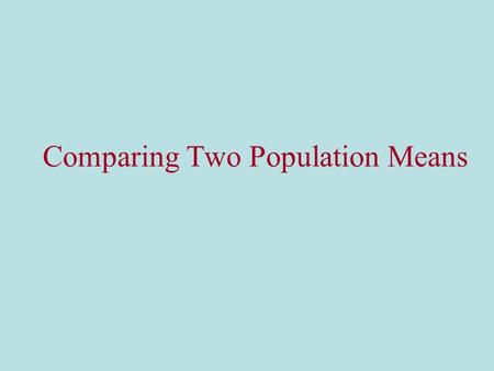 Comparing Two Population Means. Two kinds of studies or experiments There are two general research strategies that can be used to compare the two populations.