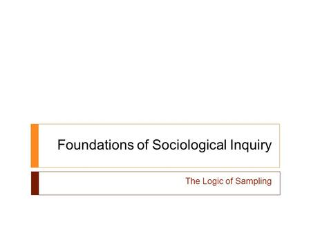 Foundations of Sociological Inquiry The Logic of Sampling.