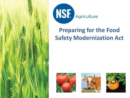 Preparing for the Food Safety Modernization Act. Agenda 1.Introduction to the Food Safety Modernization Act (FSMA) 2.Common Non-Conformances a)PrimusGFS.