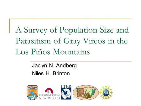 A Survey of Population Size and Parasitism of Gray Vireos in the Los Piños Mountains Jaclyn N. Andberg Niles H. Brinton.