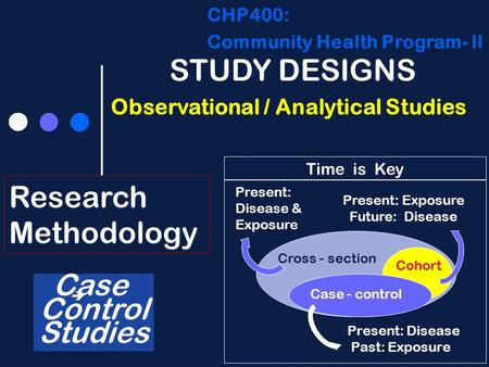 CHP400: Community Health Program- lI Research Methodology STUDY DESIGNS Observational / Analytical Studies Case Control Studies Present: Disease Past: