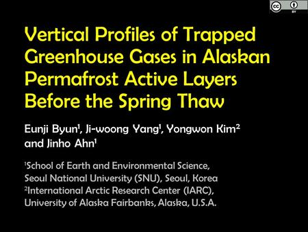Vertical Profiles of Trapped Greenhouse Gases in Alaskan Permafrost Active Layers Before the Spring Thaw Eunji Byun 1, Ji-woong Yang 1, Yongwon Kim 2 and.