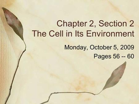 Chapter 2, Section 2 The Cell in Its Environment Monday, October 5, 2009 Pages 56 -- 60.