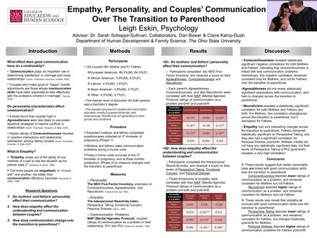 Empathy, Personality, and Couples' Communication Over The Transition to Parenthood Leigh Eskin, Psychology Advisor: Dr. Sarah Schoppe-Sullivan; Collaborators: