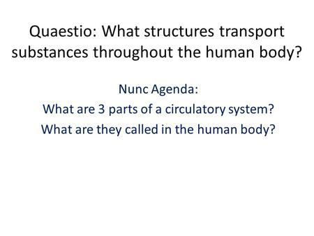 Quaestio: What structures transport substances throughout the human body? Nunc Agenda: What are 3 parts of a circulatory system? What are they called in.