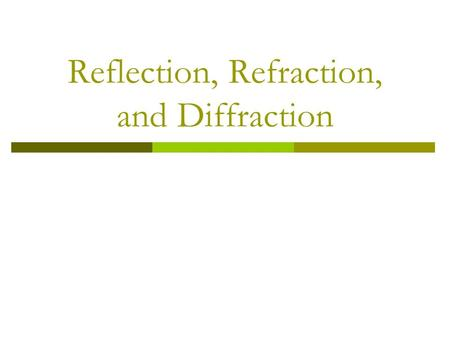 Reflection, Refraction, and Diffraction. Reflection  Reflection – wave strikes a surface and is bounced back. Law of Reflection: angle of incidence =