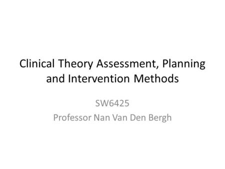 Clinical Theory Assessment, Planning and Intervention Methods SW6425 Professor Nan Van Den Bergh.