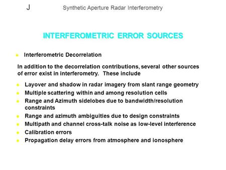 INTERFEROMETRIC ERROR SOURCES