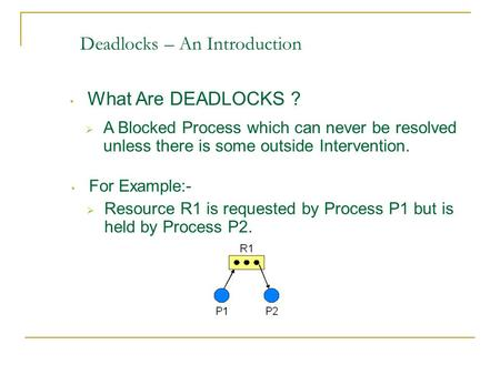 Deadlocks – An Introduction What Are DEADLOCKS ?  A Blocked Process which can never be resolved unless there is some outside Intervention.  Resource.