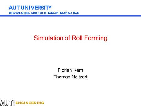 Simulation of Roll Forming