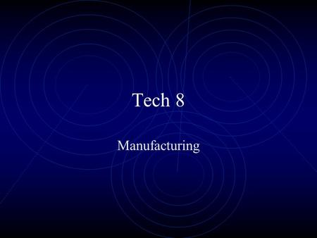 "Tech 8 Manufacturing. The word ""manufacture"" comes from the Latin words manu (hand) and factus (to make). Together they mean ""made by hand."" Definition:"