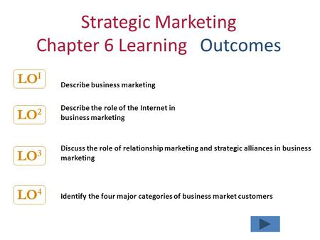 Strategic Marketing Chapter 6 Learning Outcomes Describe business marketing Describe the role of the Internet in business marketing Discuss the role of.