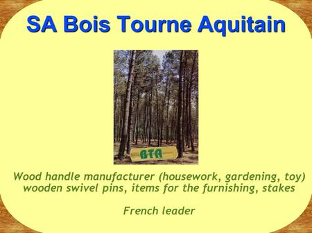 SA Bois Tourne Aquitain Wood handle manufacturer (housework, gardening, toy) wooden swivel pins, items for the furnishing, stakes French leader.