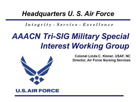 Headquarters U. S. Air Force I n t e g r i t y - S e r v i c e - E x c e l l e n c e AAACN Tri-SIG Military Special Interest Working Group Colonel Linda.