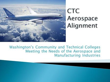 Washington's Community and Technical Colleges Meeting the Needs of the Aerospace and Manufacturing Industries.