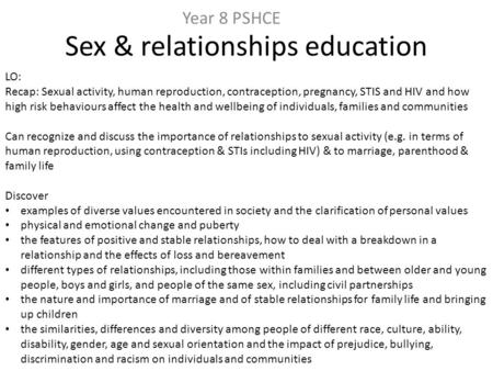 Sex & relationships education Year 8 PSHCE LO: Recap: Sexual activity, human reproduction, contraception, pregnancy, STIS and HIV and how high risk behaviours.