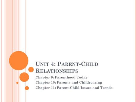 U NIT 4: P ARENT -C HILD R ELATIONSHIPS Chapter 9: Parenthood Today Chapter 10: Parents and Childrearing Chapter 11: Parent-<strong>Child</strong> Issues and Trends.