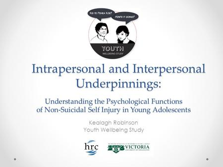 Intrapersonal and Interpersonal Underpinnings: Kealagh Robinson Youth Wellbeing Study Understanding the Psychological Functions of Non-Suicidal Self Injury.
