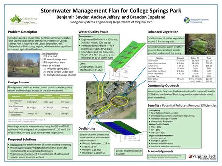 A combination of warm weather grasses, terrestrial and aquatic plants in and around the spring Stormwater Management Plan for College Springs Park Benjamin.