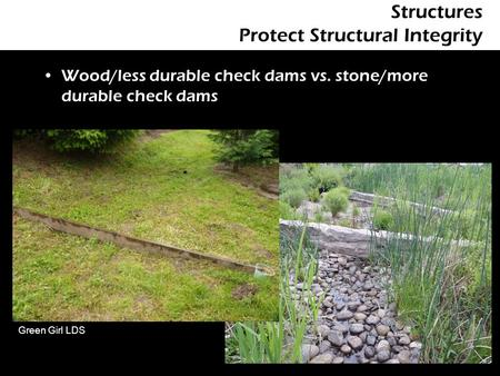 Structures Protect Structural Integrity Wood/less durable check dams vs. stone/more durable check dams Green Girl LDS.