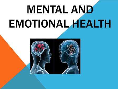 MENTAL AND EMOTIONAL HEALTH. DIMENSIONS OF HEALTH Emotional Health : a dimension of health that involves your emotions, mood, outlook on life and beliefs.