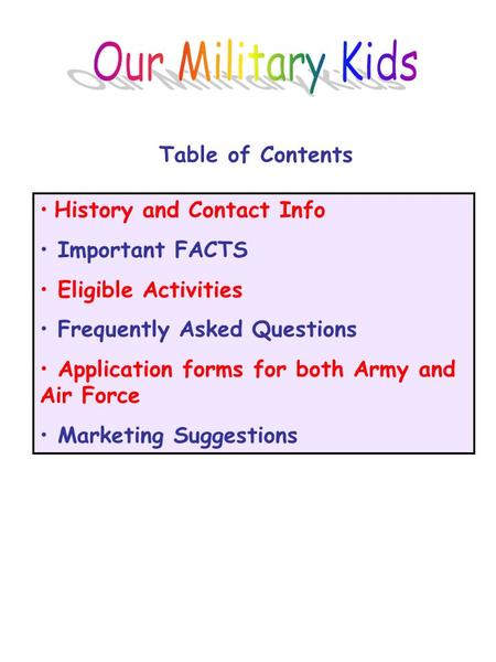 History and Contact Info Important FACTS Eligible Activities Frequently Asked Questions Application forms for both Army and Air Force Marketing Suggestions.