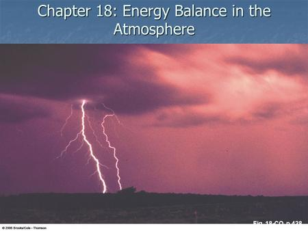 Chapter 18: Energy Balance in the Atmosphere