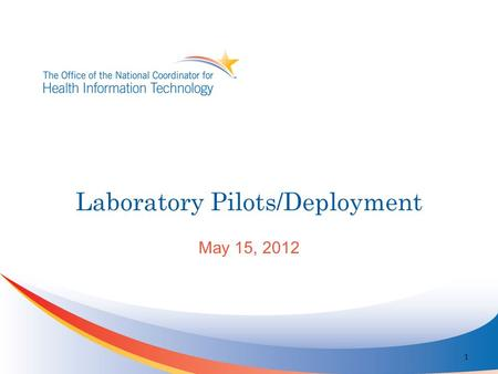 Laboratory Pilots/Deployment May 15, 2012 1. Participants Coordination of Effort Validation Suite Vocabulary Group Implementation Guide Analysis Support.