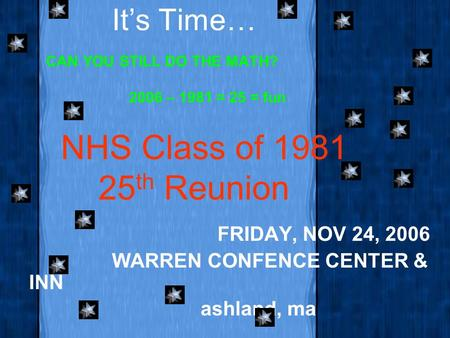 It's Time… CAN YOU STILL DO THE MATH? 2006 – 1981 = 25 = fun FRIDAY, NOV 24, 2006 WARREN CONFENCE CENTER & INN ashland, ma NHS Class of 1981 25 th Reunion.