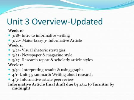 Unit 3 Overview-Updated Week 10 3/18- Intro to informative writing 3/20- Major Essay 3- Informative Article Week 11 3/23- Visual rhetoric strategies 3/25-