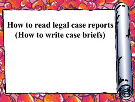 "how to prepare a case brief First, case briefs help students prepare for class, where they could potentially be called upon as a result, they should be formatted so information is easy to find o'connor recommends an arrangement that breaks down ""the core components of a case, such as the facts, procedural history, issue, rule, legal rationale, application of the."