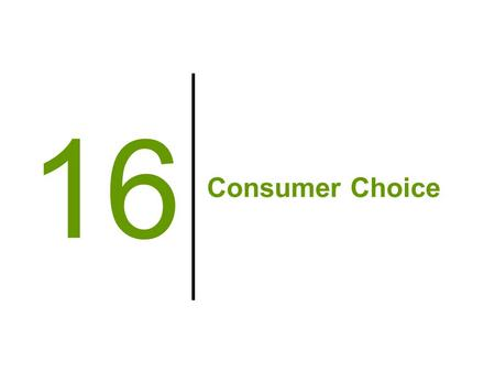 Consumer Choice 16. Modeling Consumer Satisfaction Utility –A measure of relative levels of satisfaction consumers enjoy from consumption of goods and.