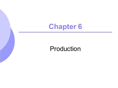 Chapter 6 Production. ©2005 Pearson Education, Inc. Chapter 62 Topics to be Discussed The Technology of Production Production with One Variable Input.