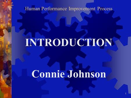 1 Human Performance Improvement Process INTRODUCTION Connie Johnson.
