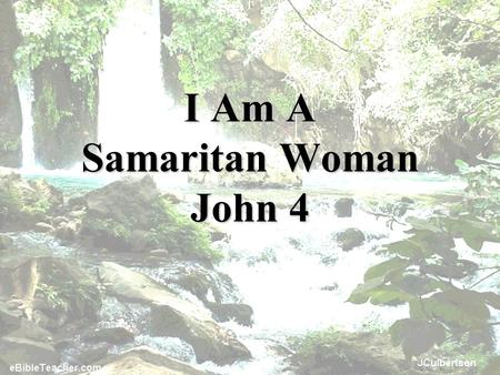 "I Am A Samaritan Woman John 4. ""I am"" is used 221 times in the Gospels; 91 times in the Gospel of John."