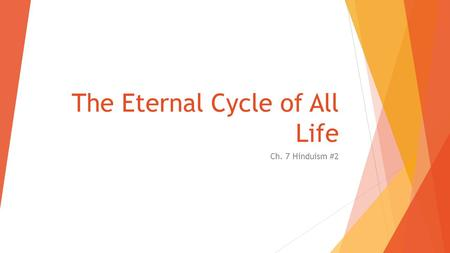 The Eternal Cycle of All Life Ch. 7 Hinduism #2. Samsara: The Wheel of Life  All life governed by a law of birth, death, & rebirth  when reborn: not.