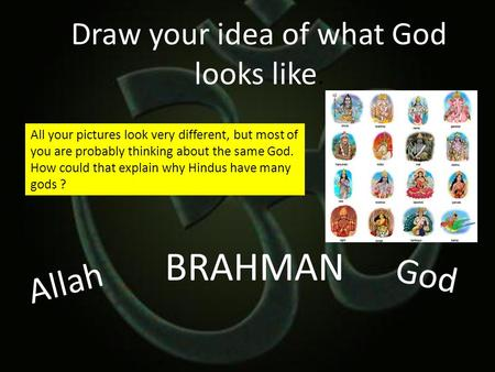 Draw your idea of what God looks like. BRAHMAN Allah God All your pictures look very different, but most of you are probably thinking about the same God.