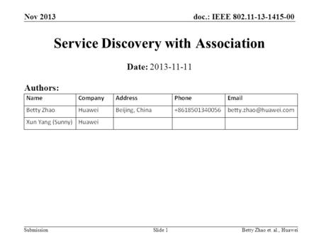 Doc.: IEEE 802.11-13-1415-00 Submission Nov 2013 Betty Zhao et. al., HuaweiSlide 1 Service Discovery with Association Date: 2013-11-11 Authors: