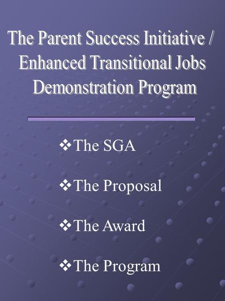  The SGA  The Proposal  The Award  The Program.