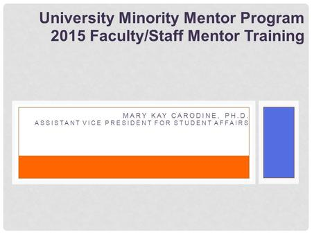 University Minority Mentor Program 2015 Faculty/Staff Mentor Training MARY KAY CARODINE, PH.D. ASSISTANT VICE PRESIDENT FOR STUDENT AFFAIRS.