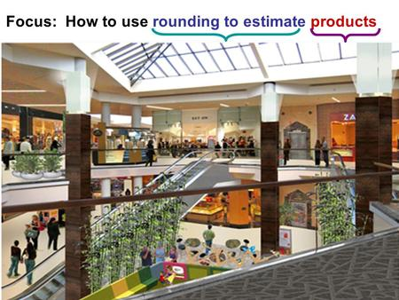 Focus: How to use rounding to estimate products. Review Rules of ROUNDING: Round each number to the place value that is underlined: 46 84 109 255 2,098.
