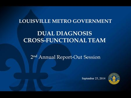 September 25, 2014 DUAL DIAGNOSIS CROSS-FUNCTIONAL TEAM LOUISVILLE METRO GOVERNMENT 2 nd Annual Report-Out Session.