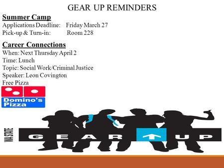 GEAR UP REMINDERS Summer Camp Applications Deadline: Friday March 27 Pick-up & Turn-in: Room 228 Career Connections When: Next Thursday April 2 Time: Lunch.