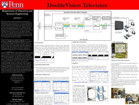 Department of Electrical and Systems Engineering ABSTRACT Television has been an excellent medium for entertainment and information ever since the invention.