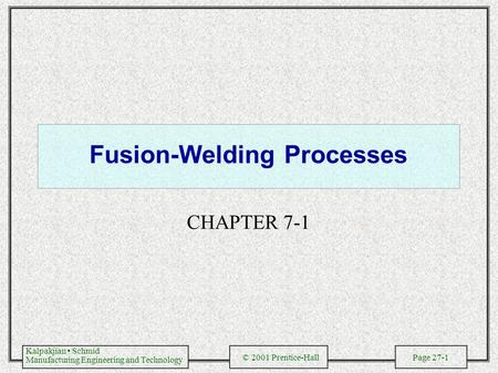 Fusion-Welding Processes