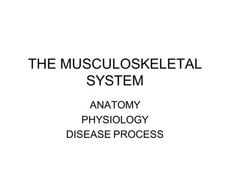 THE MUSCULOSKELETAL SYSTEM ANATOMY PHYSIOLOGY DISEASE PROCESS.